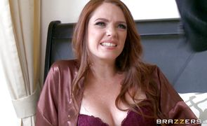 Goluptious redhead Kassondra Raine with big natural tits is sucking and fucking without charging for it