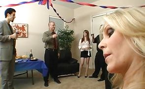 Hot-tempered blonde hottie Julia Ann is dancing for male and getting ready to fuck him until he cums
