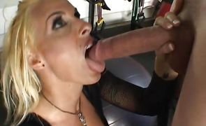 Sultry blonde Holly Halston with large tits gets licked and fucked