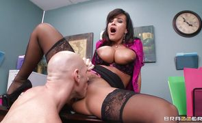 Sultry brunette darling Lisa Ann with large tits is getting fucked very hard from the back