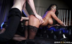 Spicy Peta Jensen with massive tits gets on her knees and sucks a penis