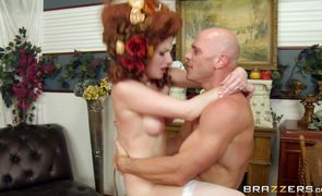 Ravishing redhead lady Veruca James with round natural tits loves to thoroughly suck a boner before riding it