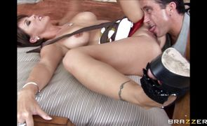 Sassy brunette Kayla Synz enjoys riding a strong and hard penis