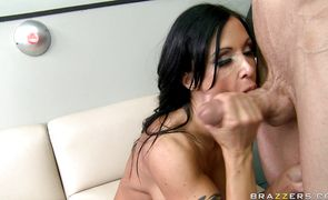 Luxurious bombshell Jewels Jade was playing with her tits while she was getting fucked