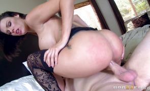 Adorable busty brunette housewife Peta Jensen can't keep quiet while being banged by a big pecker