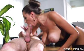 Amazing Sensual Jane with large natural tits likes to suck his hard fuck stick