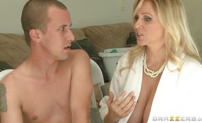 Filthy blonde Julia Ann got loads of cum all over her feet