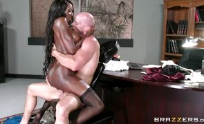 Dirty ebony brunette hottie Diamond Jackson is riding a stick and reaches a massive orgasm