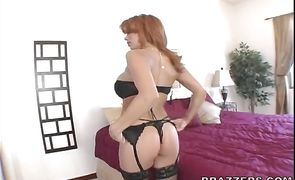 Naughty redhead perfection Sienna West enjoys sucking a huge rod