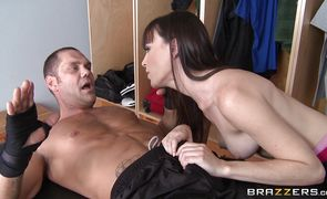 Kinky brunette Dana DeArmond and her boyfriend playing poke the cave hard