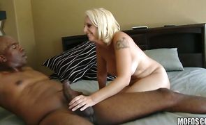 Dishy floosy Mandy Sweet has her skinny twat drilled after a foreplay