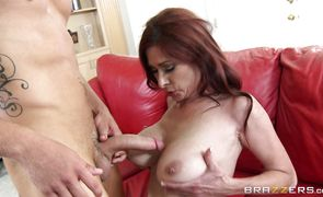 Voluptuous busty Tiffany Mynx deepthroats and gets her vag plowed without mercy