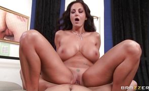 Cute busty brunette minx Ava Addams reveals her perfect tits to a hunk