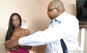 Remarkable ebony babe Codi Bryant keeps her hat on while being fucked