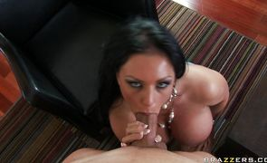 Engaging busty Kerry Louise gets licked and fucked on camera