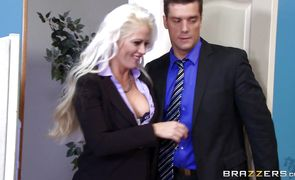 Angelic busty Holly Heart forced to suck chopper