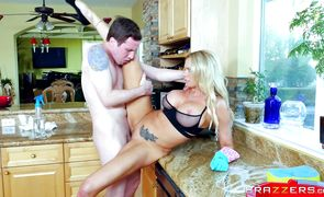 Naughty blonde hottie Briana Banks got down on her knees to suck pipe because it inspires her a lot