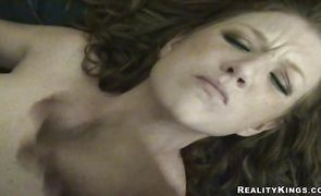 Lusty brunette lady Angel got down and dirty with her new dude
