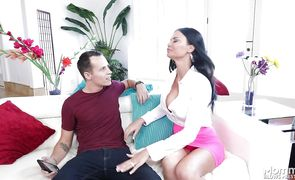 Frisky Jasmine Jae gets out her male's tool and gives him a blowjob