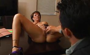 Savory diva Kayla Synz is eagerly sucking a huge dick before riding it like a whore