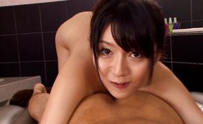 Lustful Miho Ichiki with big tits is gently sucking her stud's chili dog because she likes to keep him satisfied
