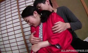Nasty exotic Ayumi Shinjyou raises her legs for a thick and long chopper
