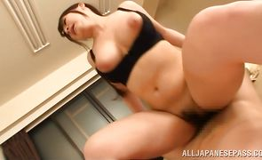 Adorable eastern Satomi Nagase gets her honey pot pounded with vigor