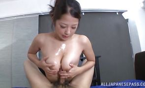Mate licks and washes attractive busty darling Satomi Suzuki's covered booty
