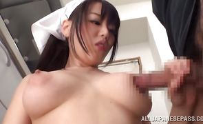 Mischievous asian girlfriend Mao Hamasaki has her fake knockers squeezed before being drilled
