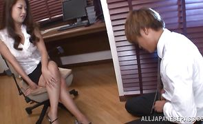 Lusty floosy Satomi Suzuki with huge tits receives a huge cock in her pussy