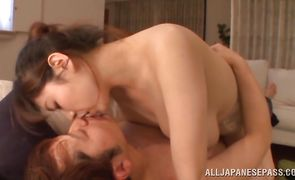 Savory Mio Sakuragi is gently licking pal's prick and getting fucked from behind