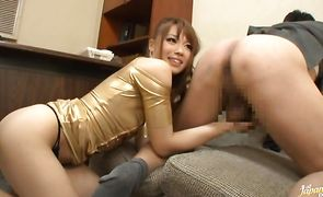 Heavenly Ayumu Sena calms down after sucking a hard cock