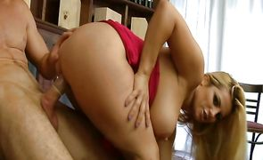 Dishy blonde Friday with curvy natural tits gets demolished by the big meat