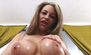 Sensual Jenna Maree with curvy tits sucks and rides pussy tester
