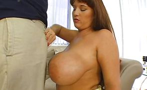 Raunchy brunette maiden Brandy Dean with round tits enjoys a hard big chili dog