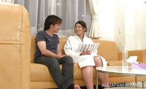 Luxurious japanese girlfriend Suzuna Komiya is sucking wang in front of the camera just for fun