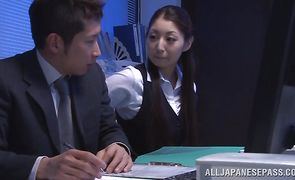 Remarkable oriental girl Hina Akiyoshi with firm tits wants to ride big pole