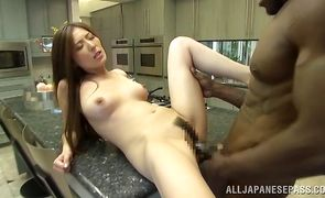 Racy chick Yuna Shiina whimpers on a large dinky
