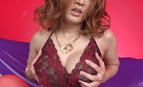 Raunchy japanese Yuki Touma swallows a big pole
