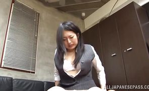 Racy bimbo Sae Aihara receives a strong chili dog in her juicy taco