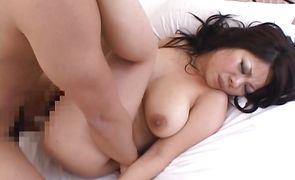 Cheerful asian babe with round tits loves a big penis