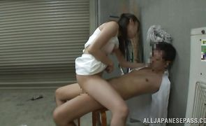 Vigorous asian cutie sucked a wang and got loads of cum all over her face