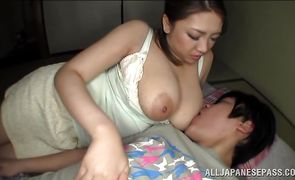 Lusty busty honey Conomi took off her panties and asked stud to fuck her