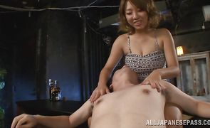 Admirable japanese maid Chika Kitano sucks off and rides attractive mate