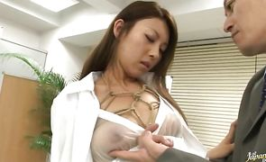 Striking nipponese sweetie Mai Yuzuki gives a messy blowjob before having her pussy fucked