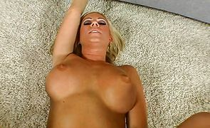 Gorgeous busty blonde Ahryan Astyn with a wet tang is lying and deepthroating like a pro