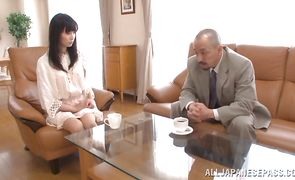 Tempting oriental Tomoko Yanagi is gently sucking pal's dong and getting fucked in a doggy style position