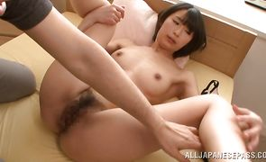 Ambitious oriental girlfriend Chisato Matsuda cheerfully raises her skirt for a large love rocket
