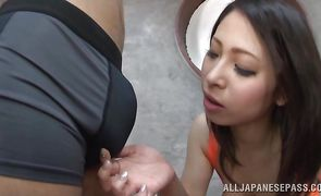 Captivating exotic bimbo Minami Ayase with round tits was eager to fuck her fucker