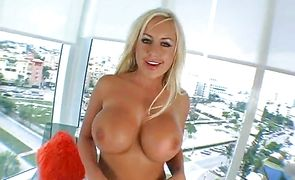 Salacious busty blonde Savanah Gold asked guy to fuck her brains out until she starts moaning